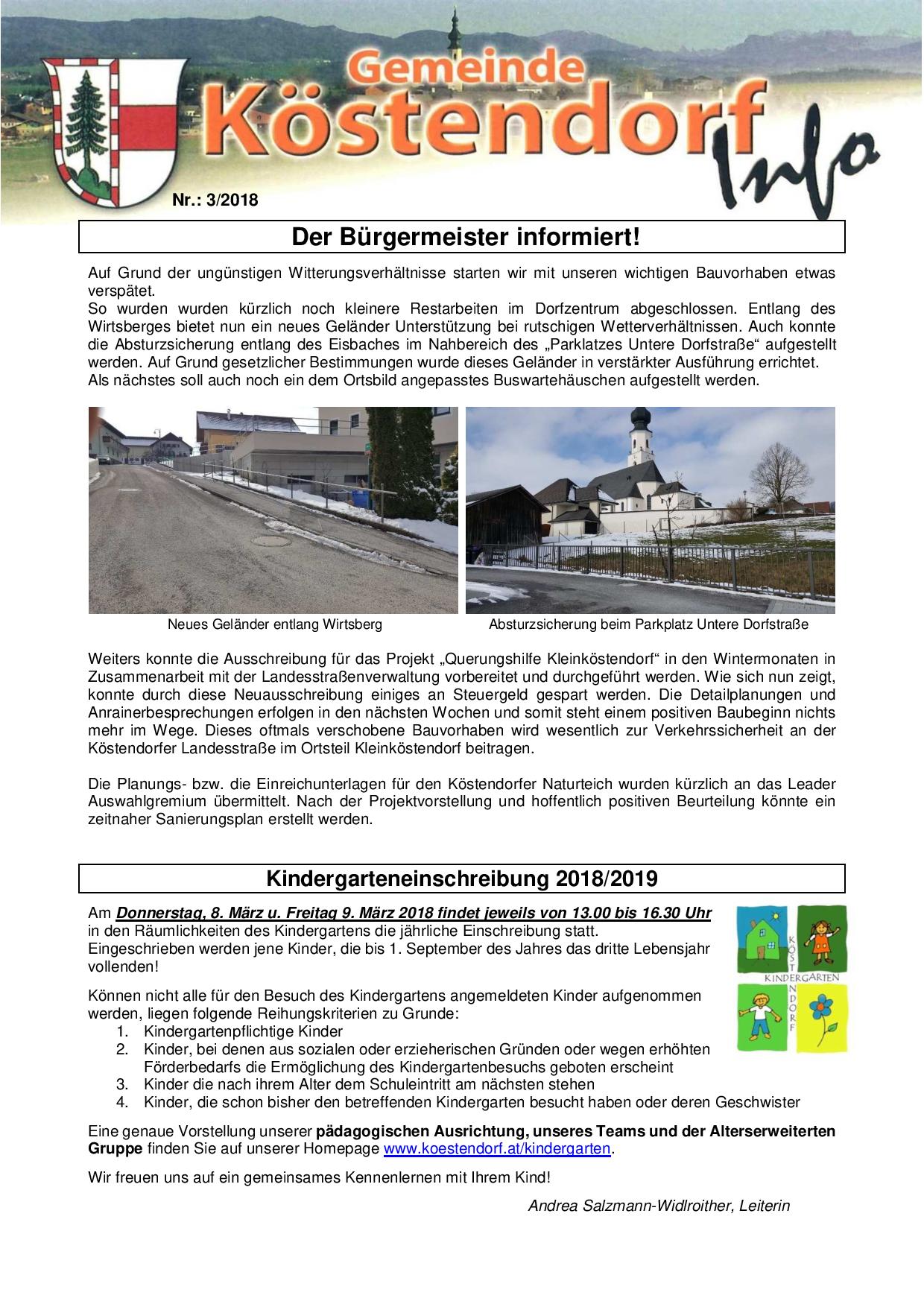 Kindergarteneinschreibung fr das Kindergartenjahr 2018/2019